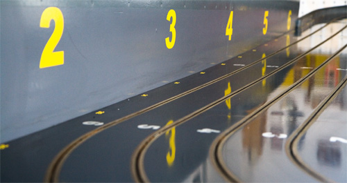 Der Fahrerstand der Slotracing Bahn des SAC Stolberg